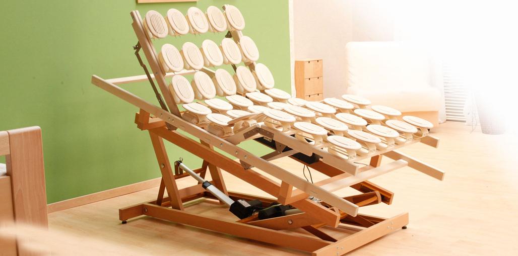 Holzhebehilfe Schrägstellung der Liegefläche - Herz-/Sitzposition
